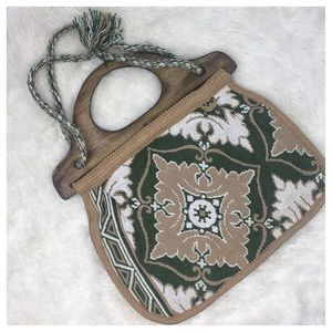 VTG Tapestry Handbag/Tote/ Crossbody Wooden handle